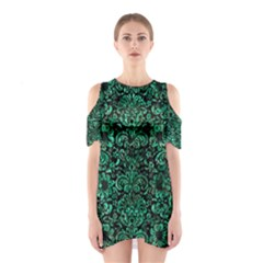 Damask2 Black Marble & Green Marble (r) Shoulder Cutout One Piece
