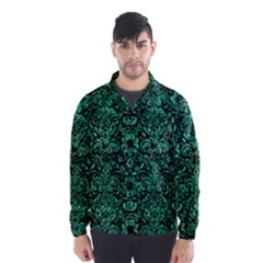 Damask2 Black Marble & Green Marble (r) Wind Breaker (men)