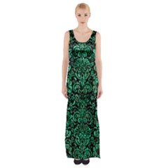 Damask2 Black Marble & Green Marble (r) Maxi Thigh Split Dress