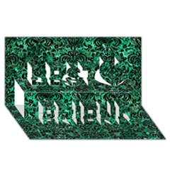 Damask2 Black Marble & Green Marble Best Friends 3d Greeting Card (8x4)