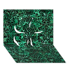 Damask2 Black Marble & Green Marble Clover 3d Greeting Card (7x5)