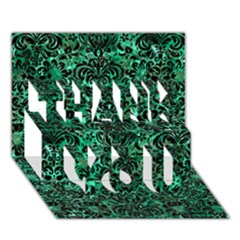 Damask2 Black Marble & Green Marble Thank You 3d Greeting Card (7x5)