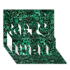Damask2 Black Marble & Green Marble Get Well 3d Greeting Card (7x5)