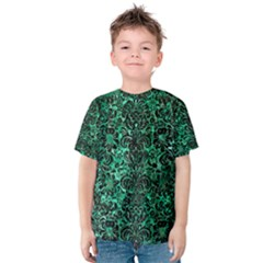 Damask2 Black Marble & Green Marble Kids  Cotton Tee