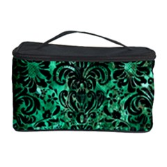 Damask2 Black Marble & Green Marble Cosmetic Storage Case