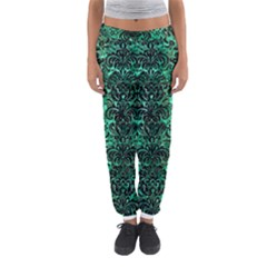 Damask2 Black Marble & Green Marble Women s Jogger Sweatpants
