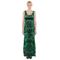 Damask2 Black Marble & Green Marble Maxi Thigh Split Dress