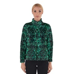 Damask2 Black Marble & Green Marble Winter Jacket