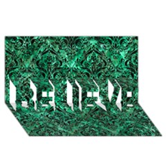 Damask1 Black Marble & Green Marble (r) Believe 3d Greeting Card (8x4)