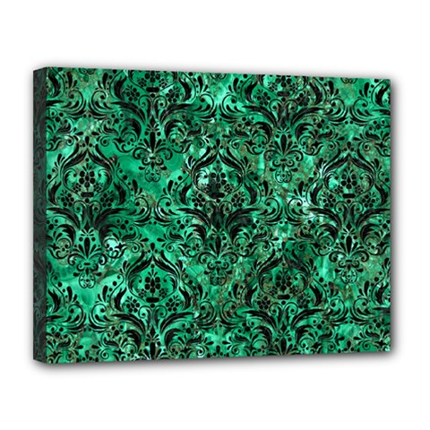 Damask1 Black Marble & Green Marble Canvas 14  X 11  (stretched)