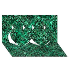Damask1 Black Marble & Green Marble Twin Hearts 3d Greeting Card (8x4)