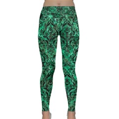 Damask1 Black Marble & Green Marble Classic Yoga Leggings