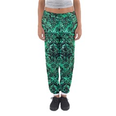 Damask1 Black Marble & Green Marble Women s Jogger Sweatpants