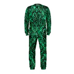 Damask1 Black Marble & Green Marble Onepiece Jumpsuit (kids)