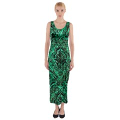 Damask1 Black Marble & Green Marble Fitted Maxi Dress