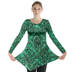 Damask1 Black Marble & Green Marble Long Sleeve Tunic
