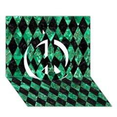 Diamond1 Black Marble & Green Marble Peace Sign 3d Greeting Card (7x5)
