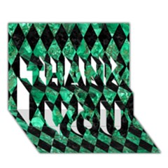 Diamond1 Black Marble & Green Marble Thank You 3d Greeting Card (7x5)