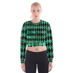 DIA1 BK-GR MARBLE Women s Cropped Sweatshirt
