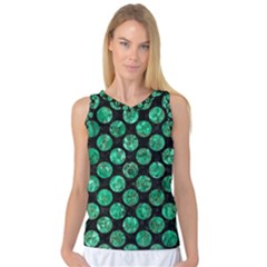 Circles2 Black Marble & Green Marble (r) Women s Basketball Tank Top