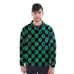 Circles2 Black Marble & Green Marble (r) Wind Breaker (men)