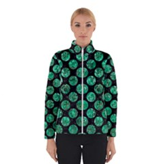 Circles2 Black Marble & Green Marble (r) Winter Jacket