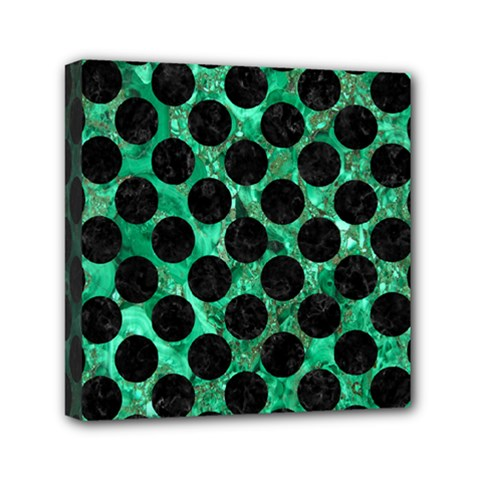 Circles2 Black Marble & Green Marble Mini Canvas 6  X 6  (stretched)