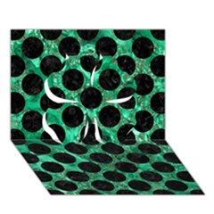 Circles2 Black Marble & Green Marble Clover 3d Greeting Card (7x5)