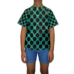 Circles2 Black Marble & Green Marble Kids  Short Sleeve Swimwear