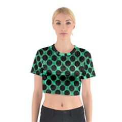 Circles2 Black Marble & Green Marble Cotton Crop Top