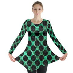 Circles2 Black Marble & Green Marble Long Sleeve Tunic