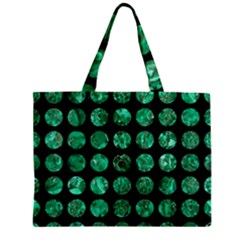 Circles1 Black Marble & Green Marble (r) Zipper Mini Tote Bag