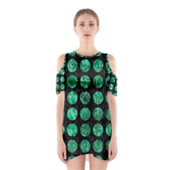 Circles1 Black Marble & Green Marble (r) Shoulder Cutout One Piece