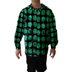 Circles1 Black Marble & Green Marble (r) Hooded Wind Breaker (kids)
