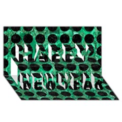 Circles1 Black Marble & Green Marble Happy New Year 3d Greeting Card (8x4)