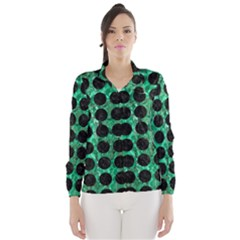 Circles1 Black Marble & Green Marble Wind Breaker (women)