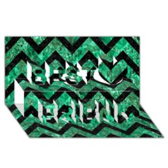 Chevron9 Black Marble & Green Marble (r) Best Friends 3d Greeting Card (8x4)