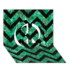 Chevron9 Black Marble & Green Marble (r) Peace Sign 3d Greeting Card (7x5)