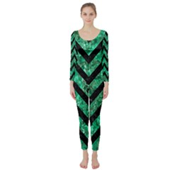 Chevron9 Black Marble & Green Marble (r) Long Sleeve Catsuit