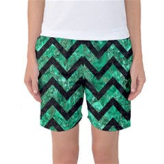 Chevron9 Black Marble & Green Marble (r) Women s Basketball Shorts