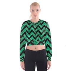 Chevron9 Black Marble & Green Marble (r) Cropped Sweatshirt