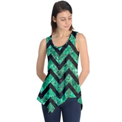Chevron9 Black Marble & Green Marble (r) Sleeveless Tunic
