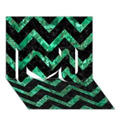 Chevron9 Black Marble & Green Marble I Love You 3d Greeting Card (7x5)