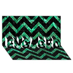 Chevron9 Black Marble & Green Marble Engaged 3d Greeting Card (8x4)