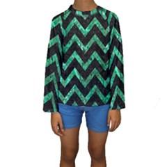 CHV9 BK-GR MARBLE Kid s Long Sleeve Swimwear
