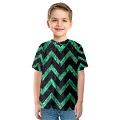 Chevron9 Black Marble & Green Marble Kids  Sport Mesh Tee