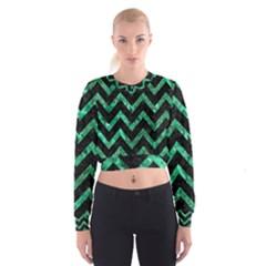 CHV9 BK-GR MARBLE Women s Cropped Sweatshirt