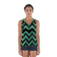 Chevron9 Black Marble & Green Marble Sport Tank Top