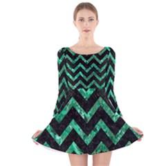 Chevron9 Black Marble & Green Marble Long Sleeve Velvet Skater Dress