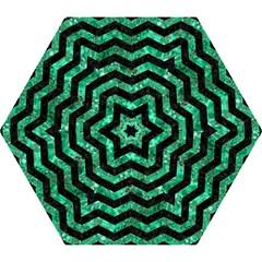 Chevron3 Black Marble & Green Marble Mini Folding Umbrella